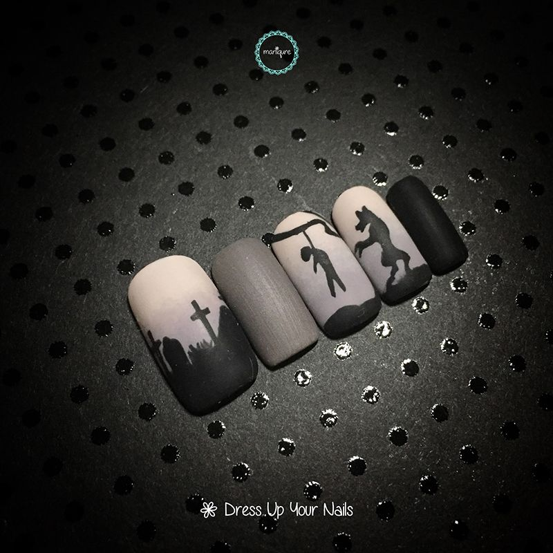 Halloween Grave & The Wolfman Nail Art
