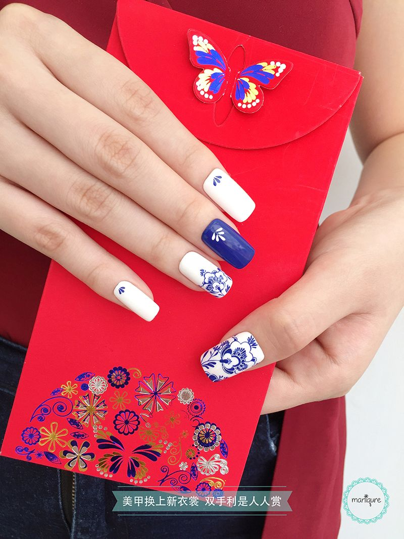 Blue White Porcelain Nail Art