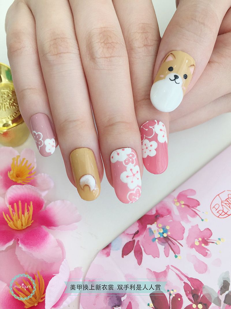 Dog Year Corgi Nail Art