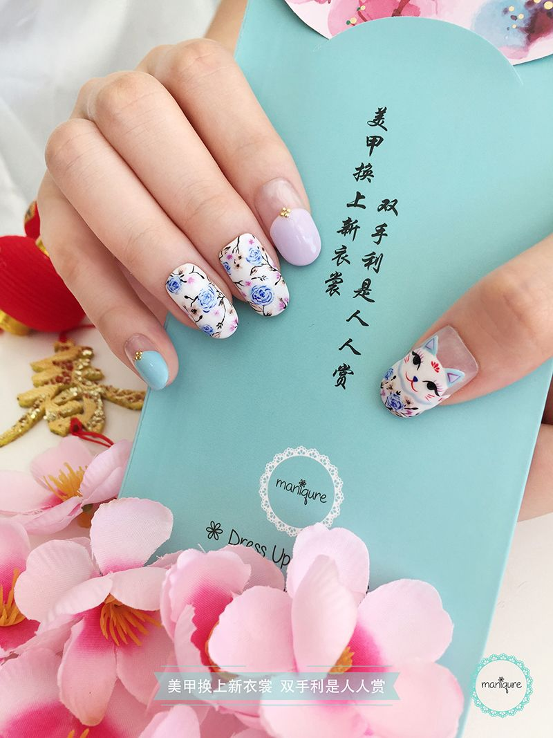 Fortune Cat Flower Nail Art