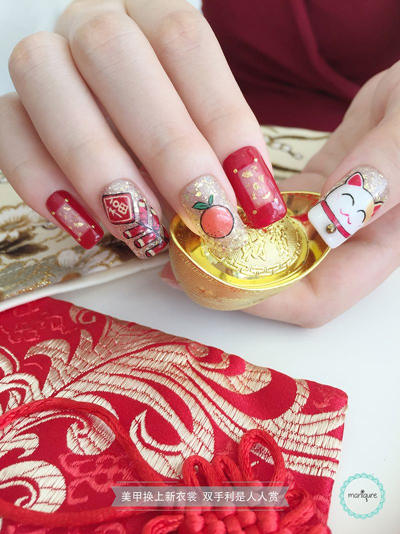 Fortune Cat & Orange Firecracker Nail Art