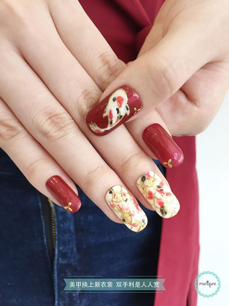 Gold Koi Fish Nail Art