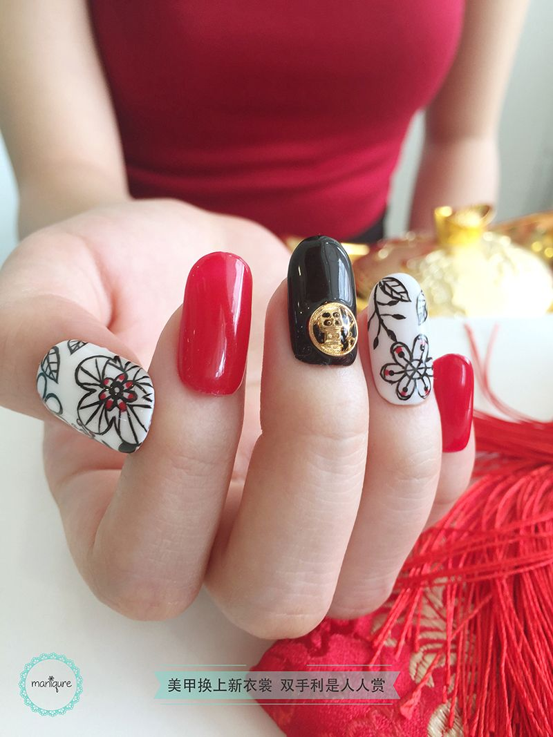 Modern Black CNY Nail Art