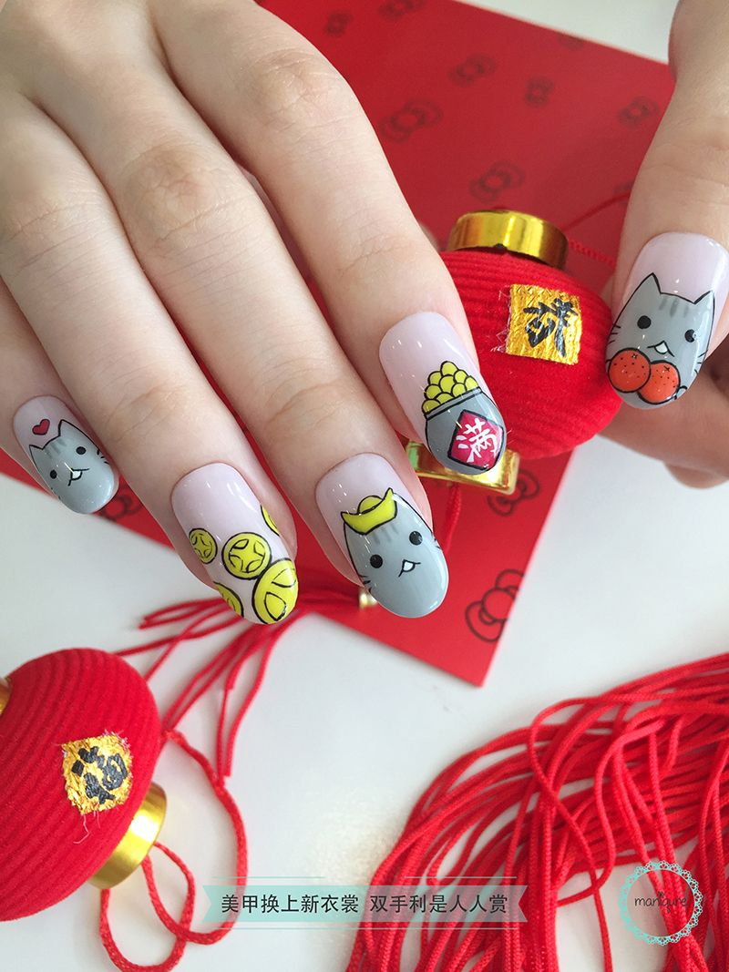 Pusheen CNY Nail Art