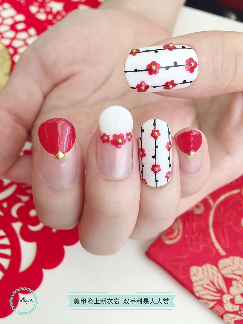 Red Flower CNY Nail Art