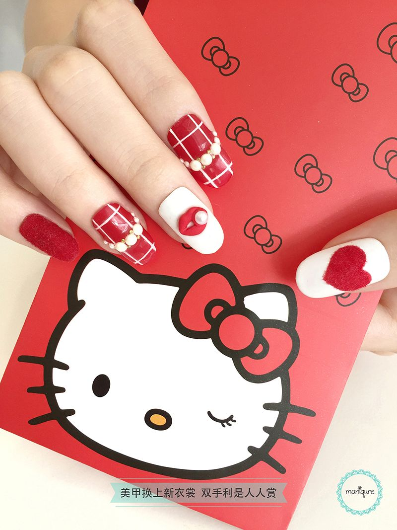 Red Lips Pearl Nail Art