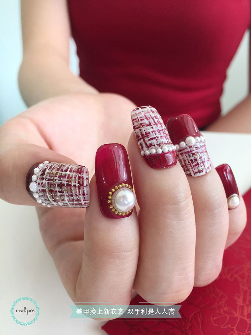 Red Pearl Nail Art