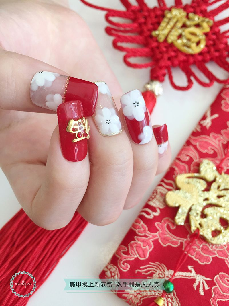 White Cherry Blossom Nail Art