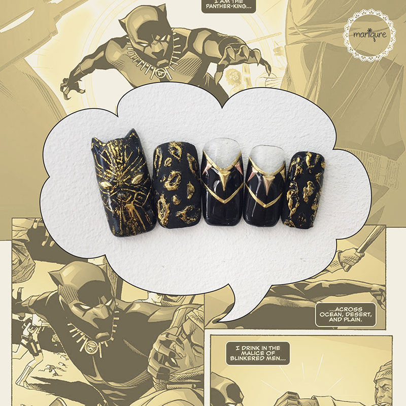 Black Panther Gold Nails