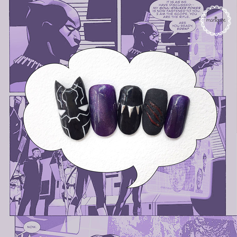 Black Panther Purple Nails