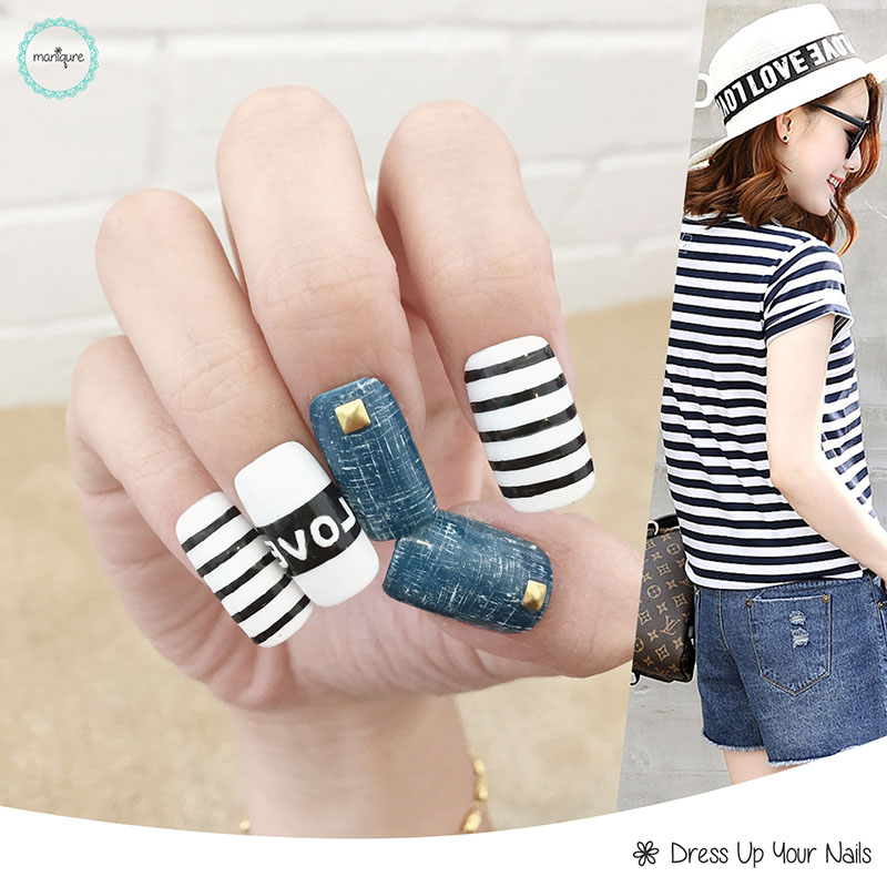 Jeans Manicure Nail Art