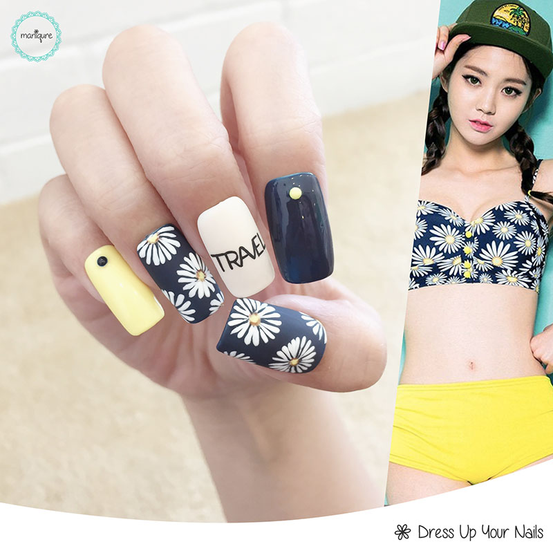 Spring Floral Manicure Nail Art