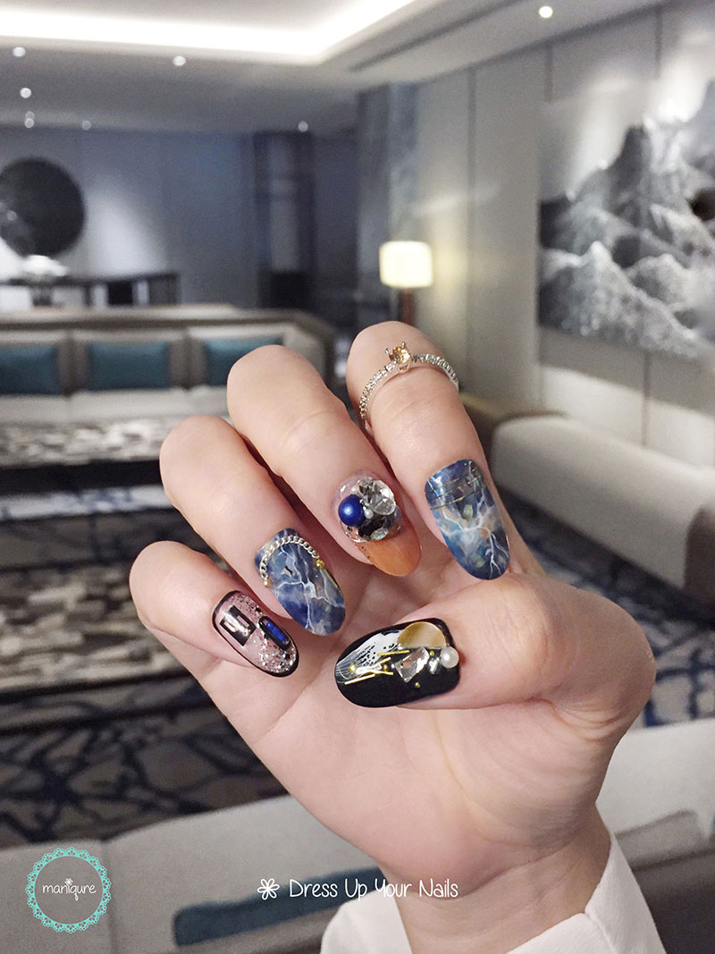 Earth Moon Marble Nails