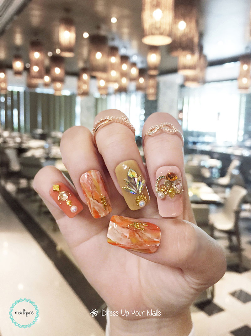 Gold Brown Jade Marble Nails