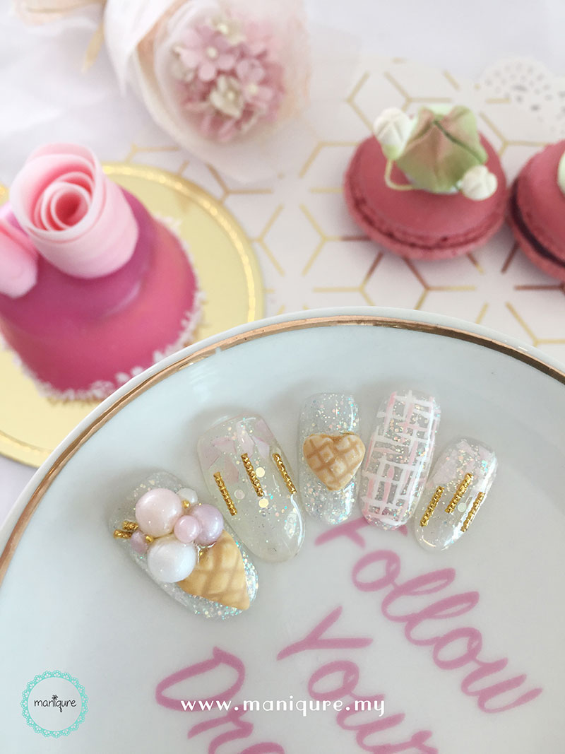 Ice Cream Cone Pastel Nails