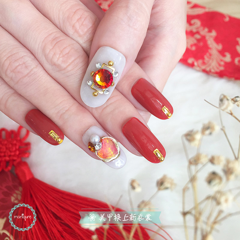 Chinese Gems Valentine Nails