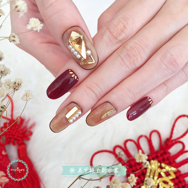 Chinese Jade Swarovski Nails