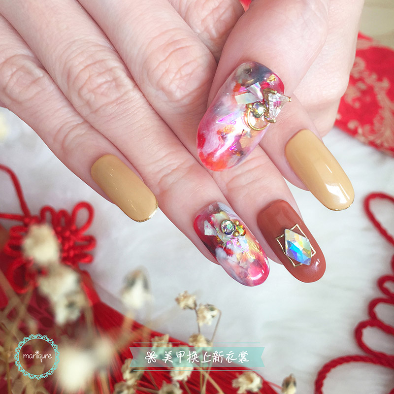 Chinese New Year Abstract Nail Art