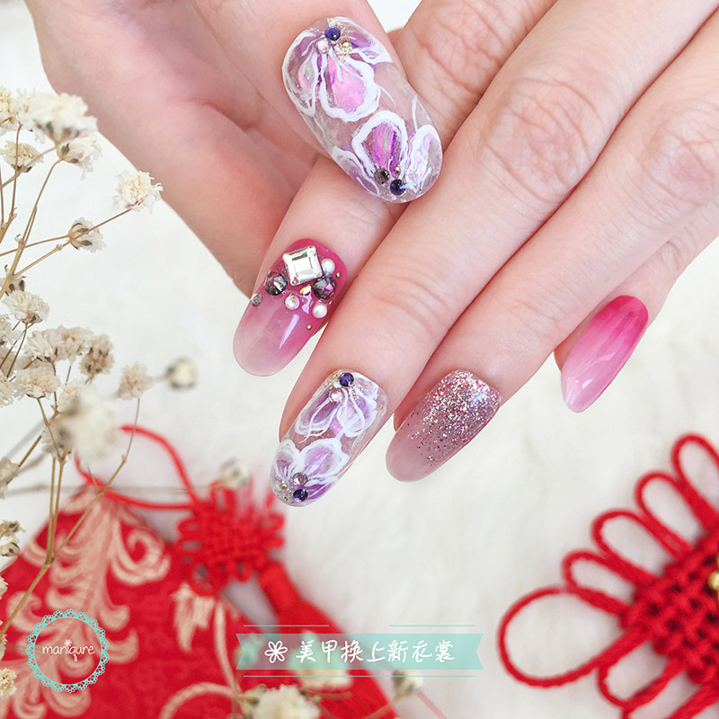 Purple Flowers Illustration Nails