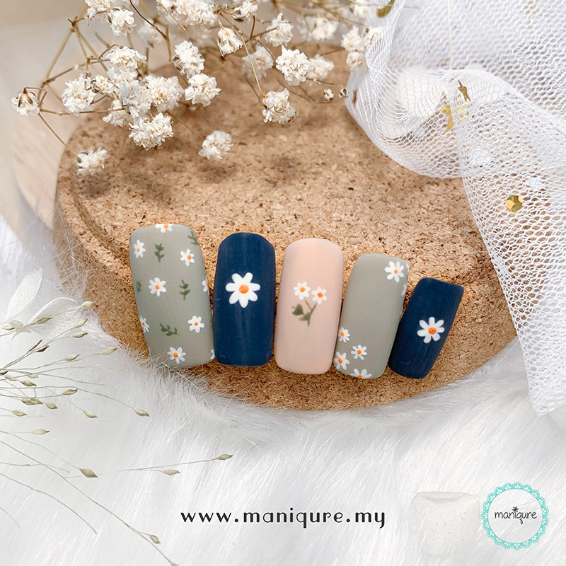 Morandi Colour Flower Nails