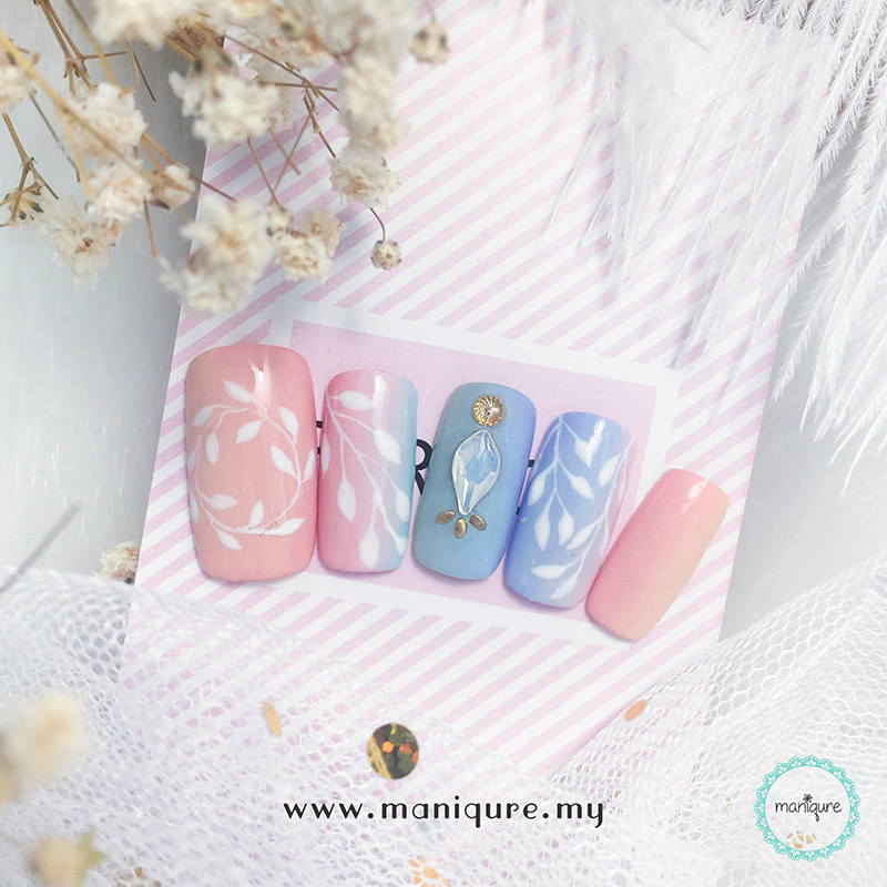 Ombre Colour Flower Nails