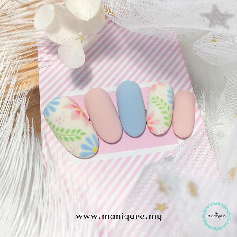 Pastel Colour Flower Nails