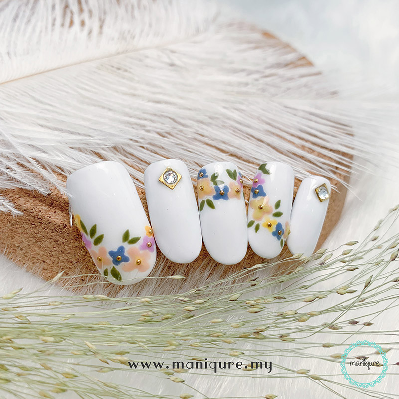 White Base Colour Flower Nails