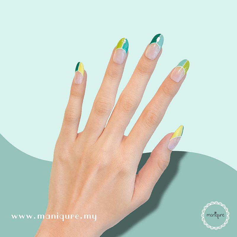 Bold French Green Yellow Nails