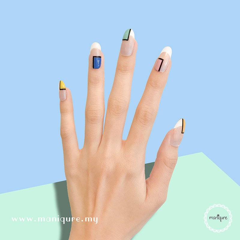Frame Minimalist Colourful Nails