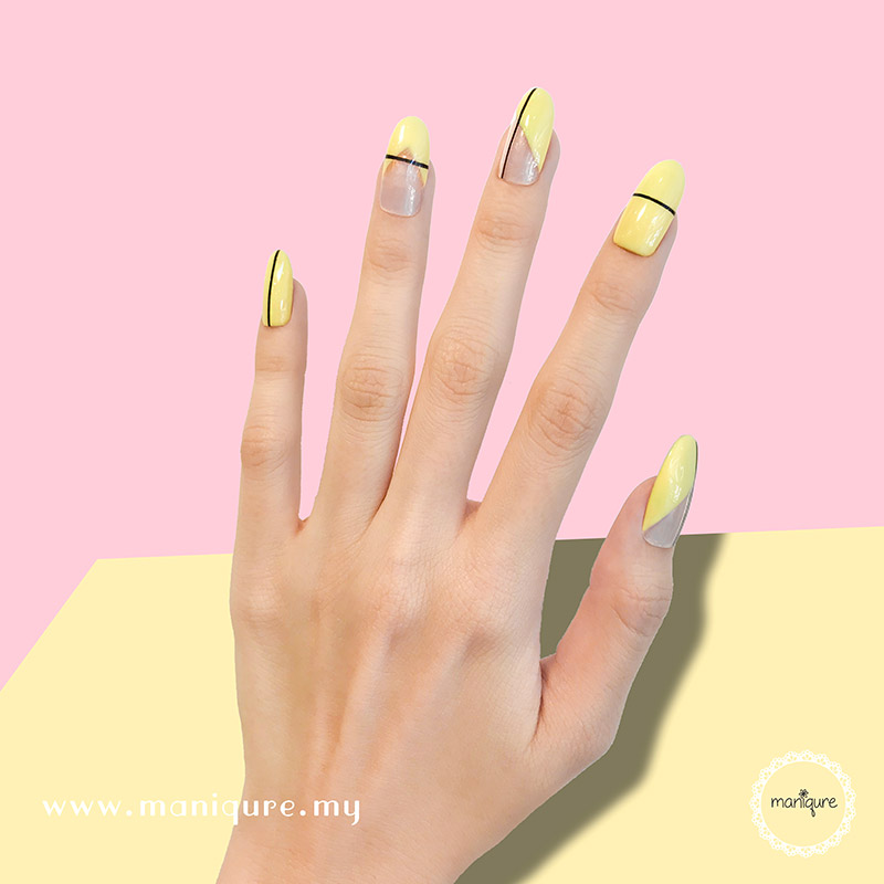 Minimalist Line Morning Yellow Nails