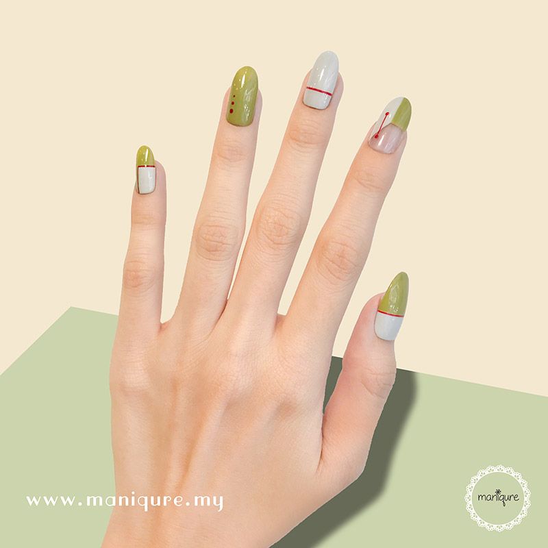 Minimalist Olive Green Nails