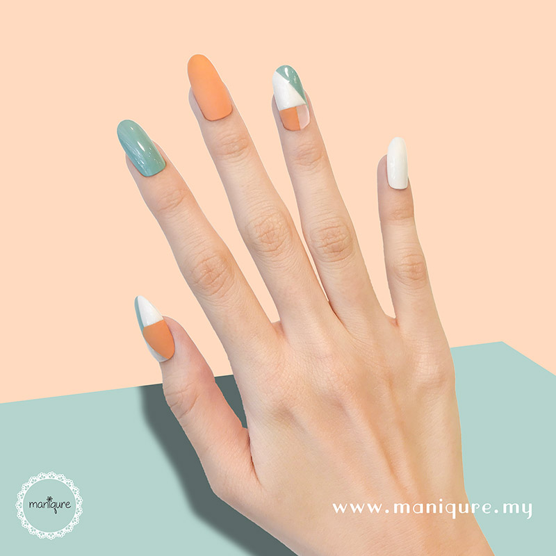 Western Orange Green Nails