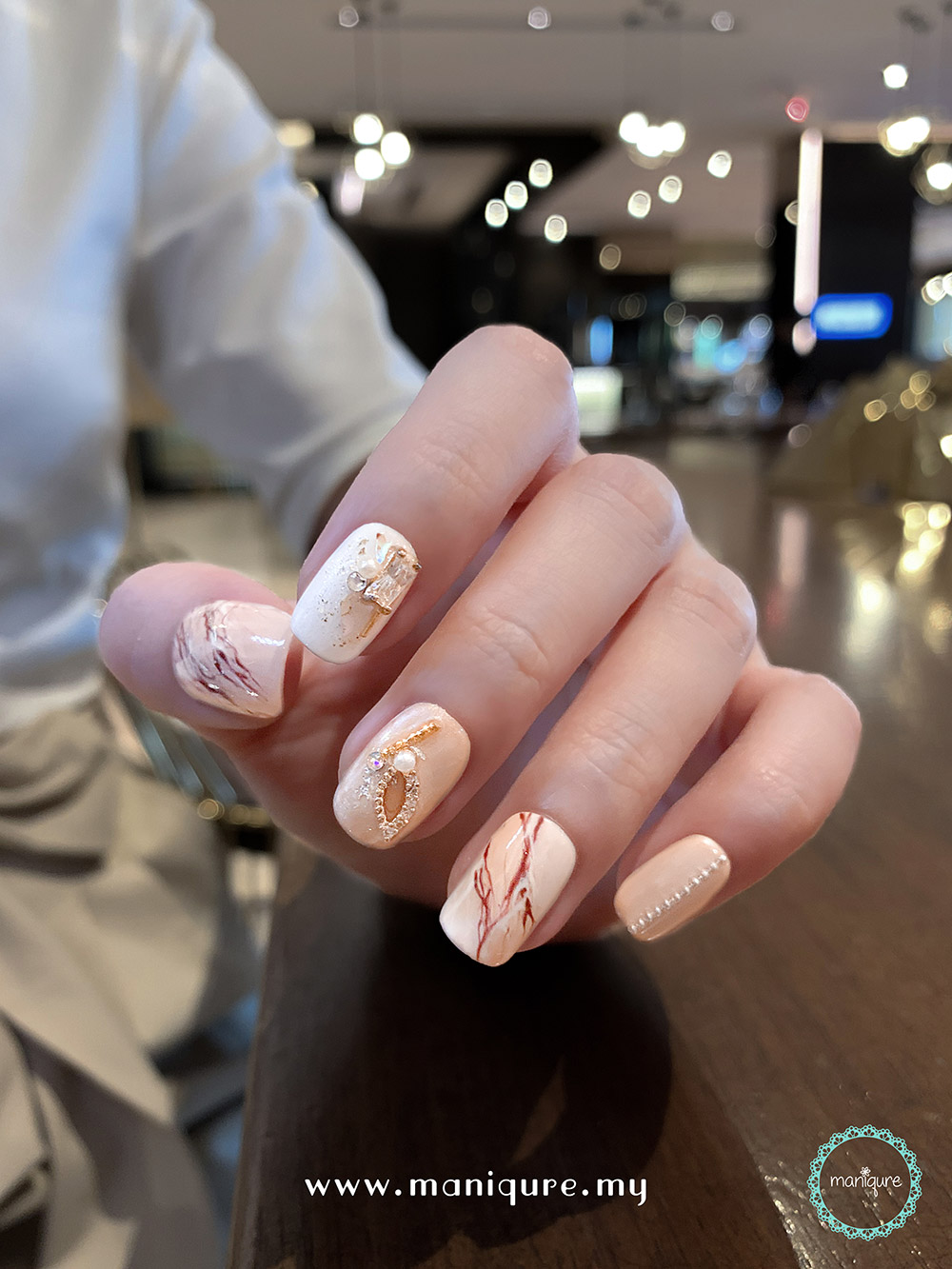 Europa Marble Nails – Jupiter's Moon Manicure