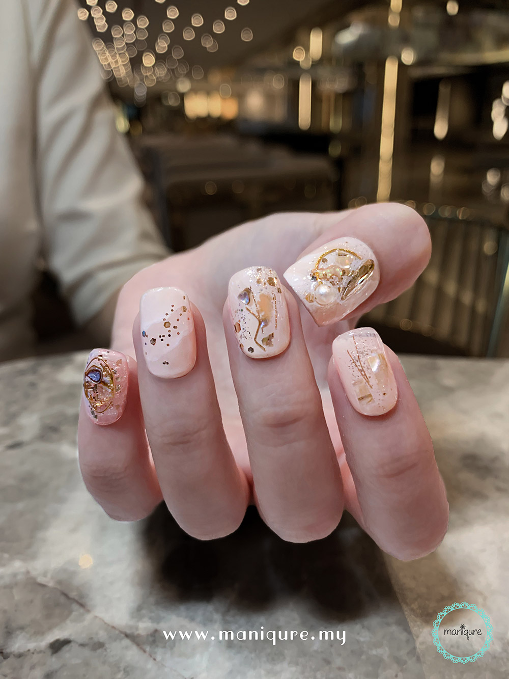 Saturn Marble Nails – Planet Manicure