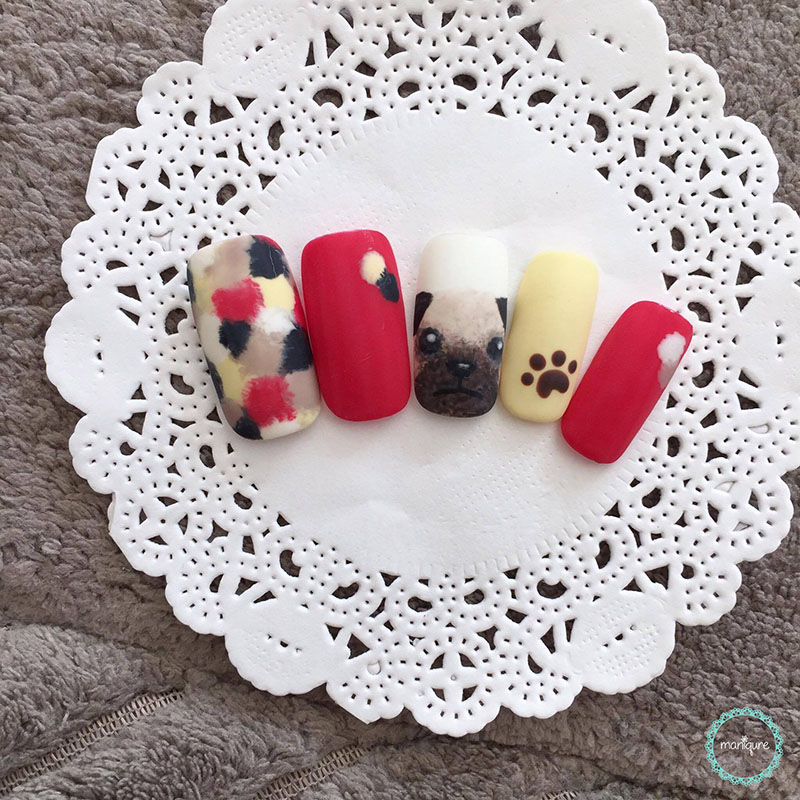 Pug Dog Manicure Animal Nails