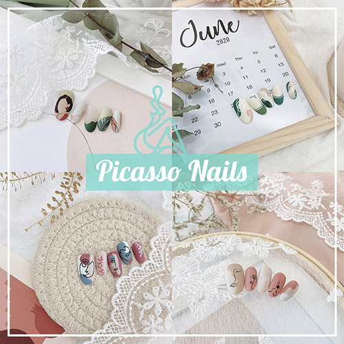 Picasso Nails - Feminine Minimalist Abstract Manicure